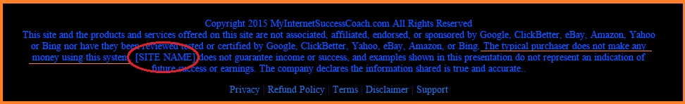 My Internet Success Coach disclaimer at the bottom of the website. It shows the disclaimer and unfinished text.