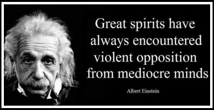 Albert Einstein - Great spirits have always encountered violent opposition from mediocre minds.