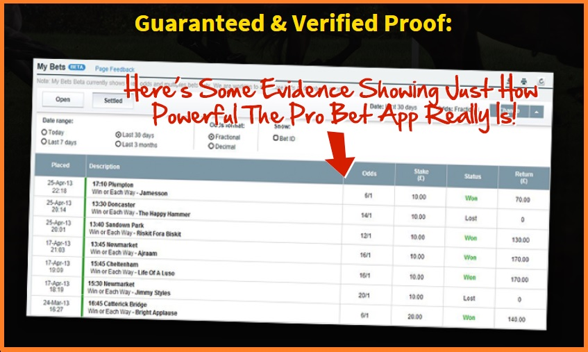 Real evidence apparently that the Pro Bet App really isn't a massive scam! Really?