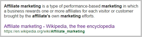 The definition of affiliate marketing