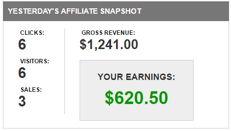 An example of a small amount of traffic making large affiliate commissions.