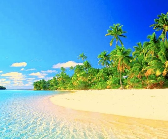 Dreaming of a better lifestyle. Beautiful beech scene with blue water and golden sand.