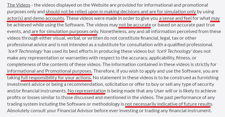 More disclaimers from Ice 9 Technology