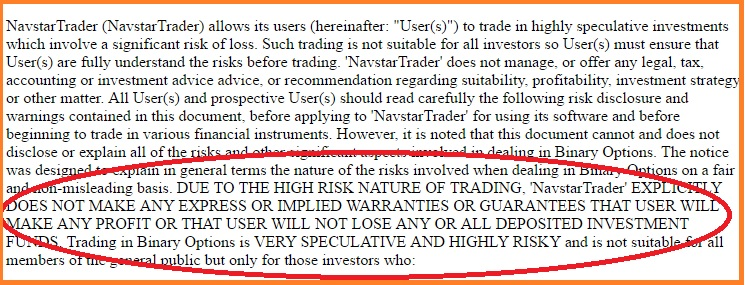 Navstar Trader terms showing a high risk disclaimer.