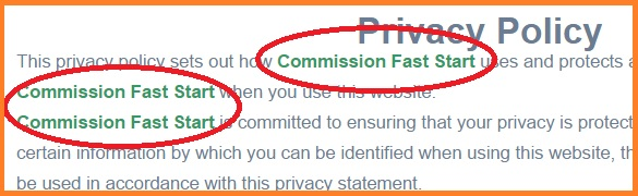 Commission Fast Start shown in the Privacy section.