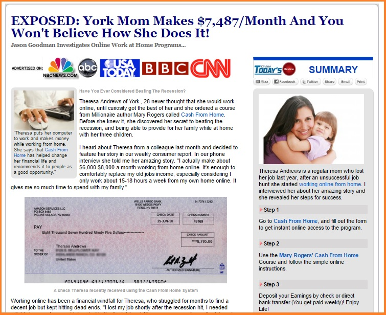 Mary Rogers Cash From Home. A fake news website takes you to another scam website!
