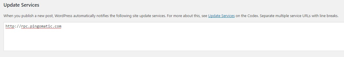 The default WordPress update services.