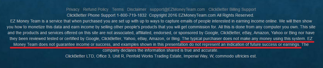 Screenshot from the EZ Money Team website showing that you wont make any money with this system.