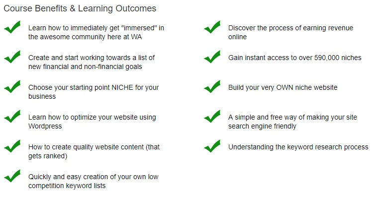 Wealthy Affiliate training course - level 1