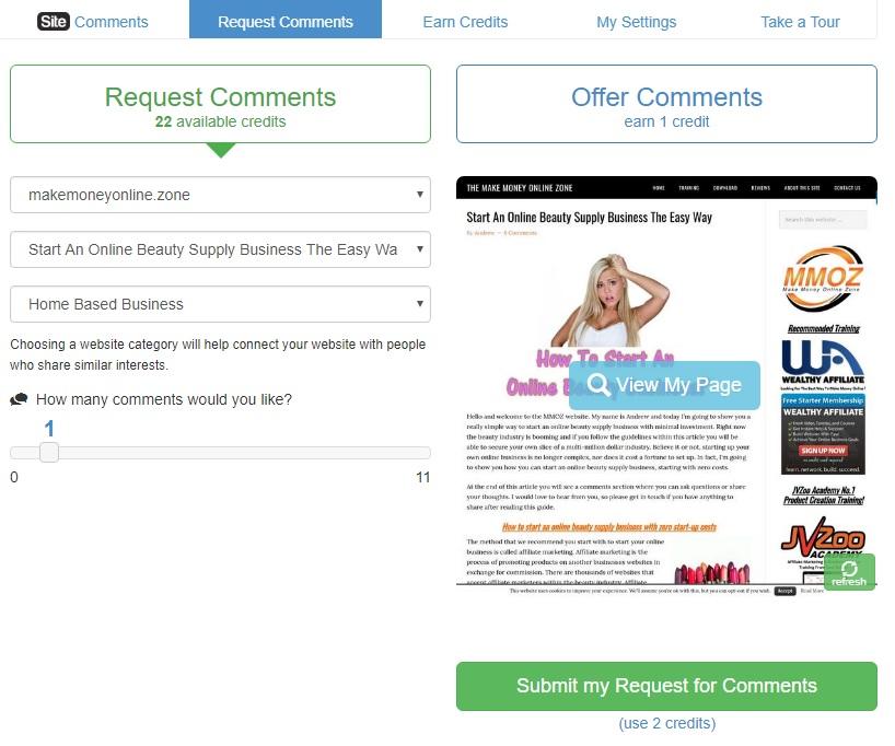Wealthy Affiliate Site Comments area.