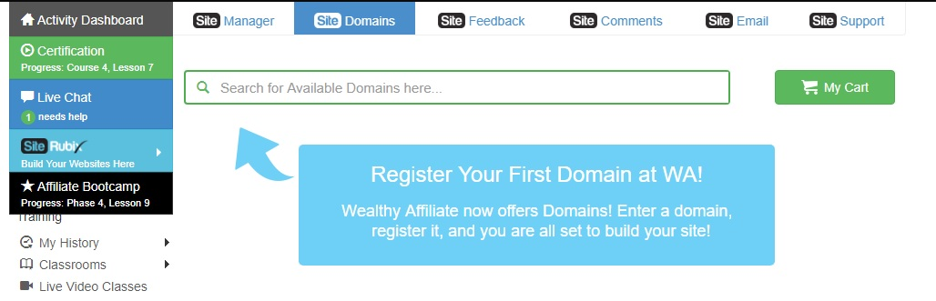 Wealthy Affiliate's Site Domains section.