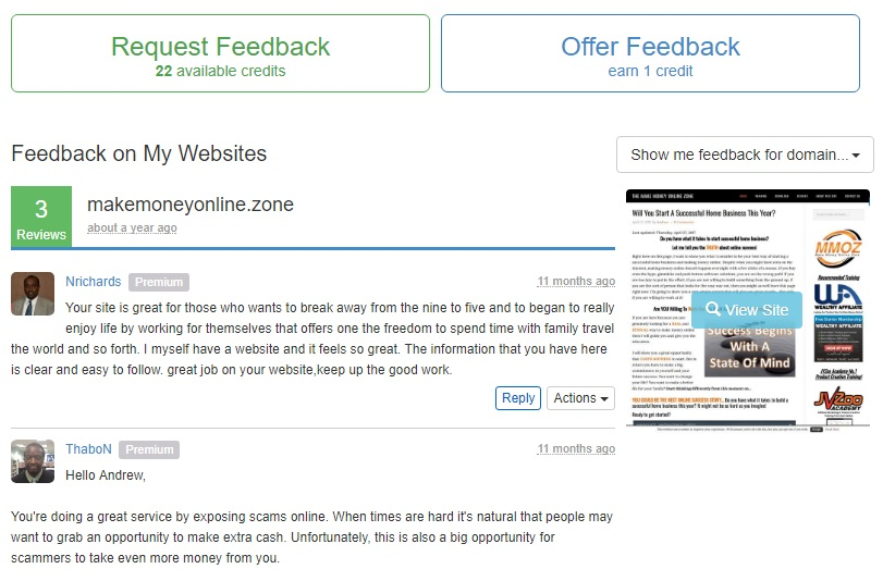 Wealthy Affiliate Site Feedback section.