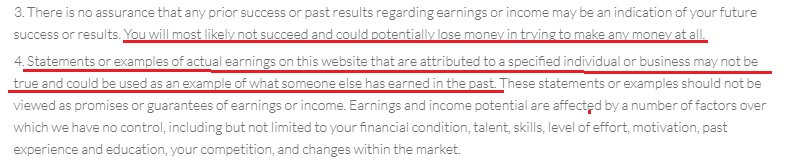Millionaire Methods earnings disclaimer.