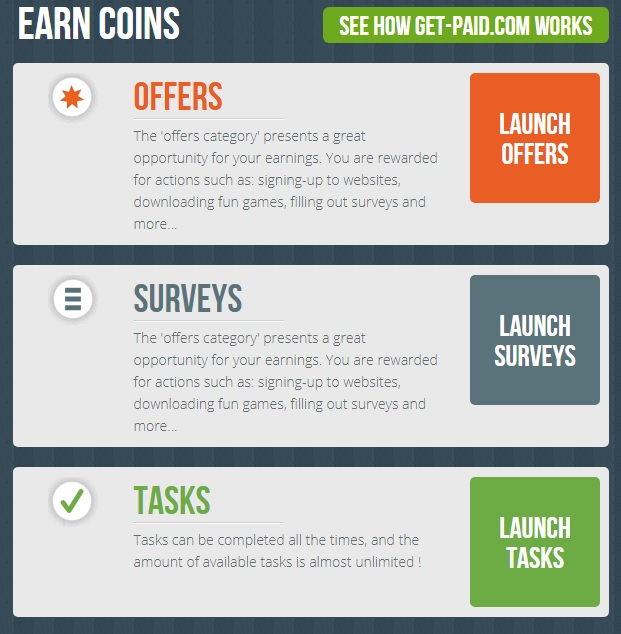 How you earn coins with get-paid.com