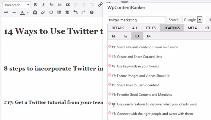 How WP Content Ranker works.