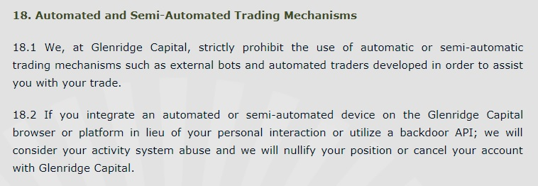 Glenridge Capital stating that they do not allow automated systems.
