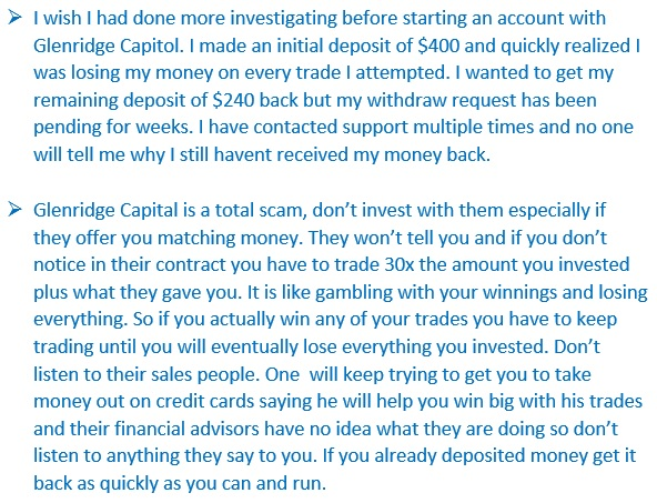 More testimonials stating that Glenridge Capital is a scam broker.