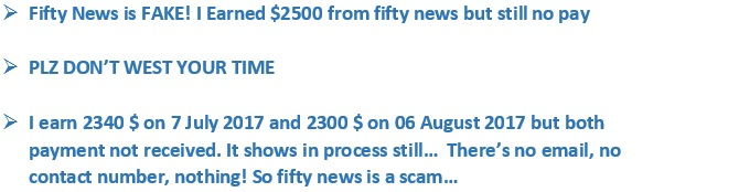 Fifty News Reviews - Proof that Fifty News.com don't pay!