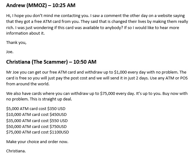 Free ATM Card Scam email conversation part 1.
