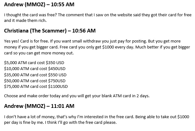 Free ATM Card Scam email conversation part 2.