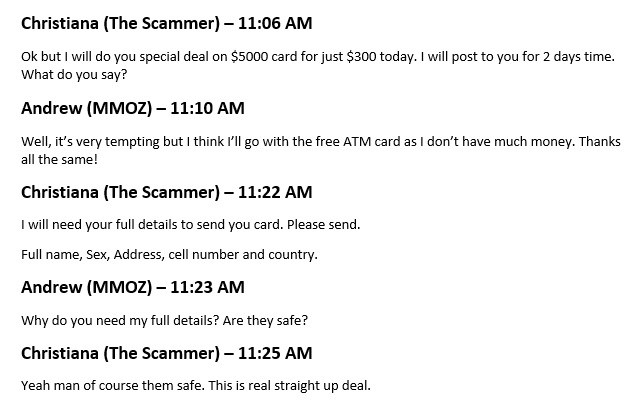 Free ATM Card Scam email conversation part 3.