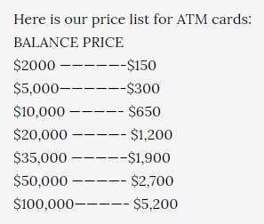 Price list of hacked ATM cards.