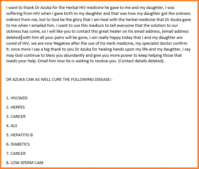 The Dr Azuka herbal medicine scam posted as a spam comment on our website.