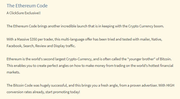 The truth about The Ethereum Code on Clicksure.