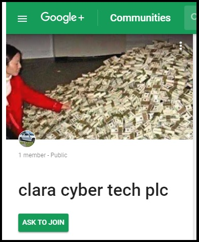 Clara Cyber Tech Scam on Google Plus.