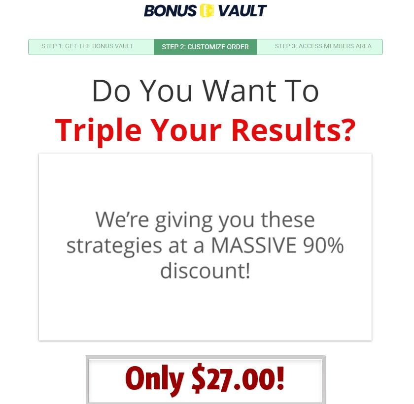 The Bonus Vault Upsell offering additional training.