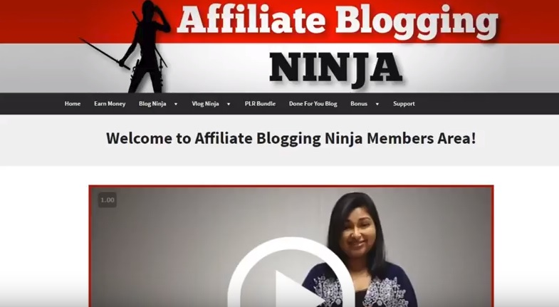 Affiliate Blogging Ninja screenshot.