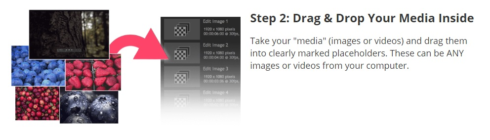 Step 2 - adding media with Drag and Drop Videos.