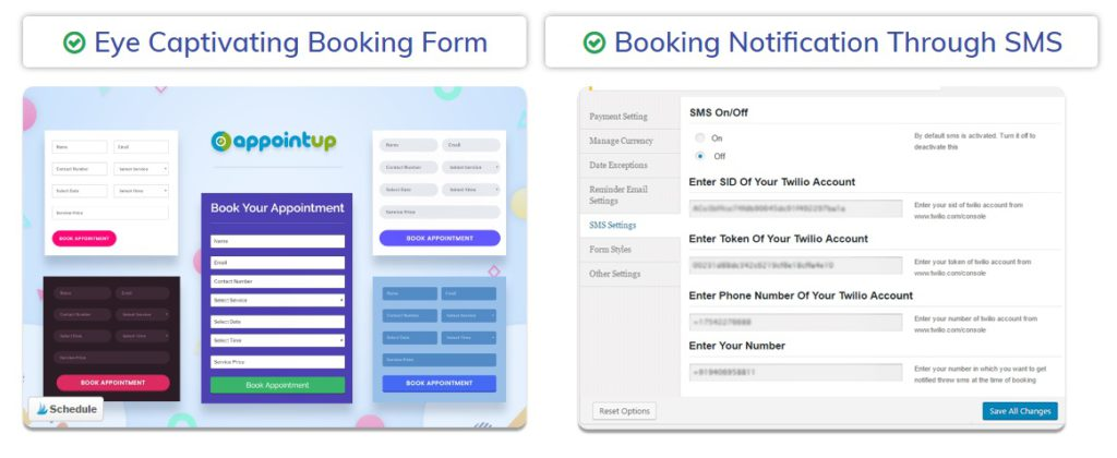 Example booking forms inside WP LocalBiz Bundle.