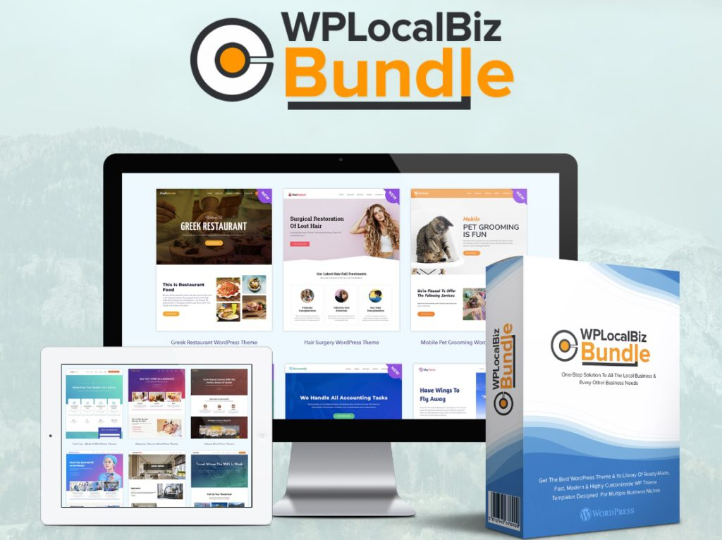 Welcome to the MMOZ WP LocalBiz Bundle review page. This image shows the product and an on screen example.
