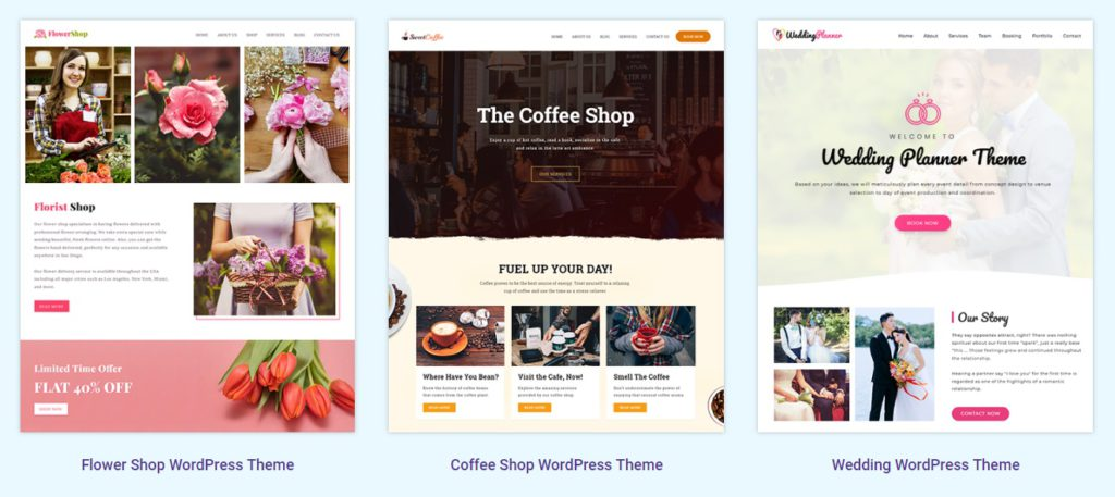 We see more examples. Coffee shop websites, or build a local wedding planners website.