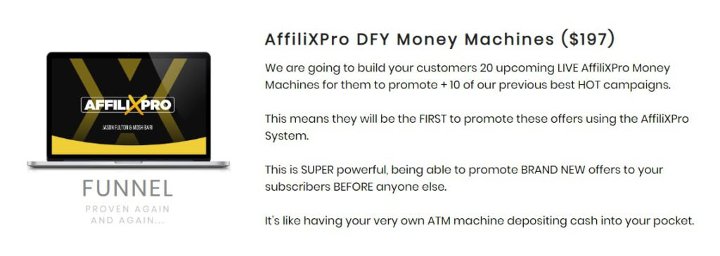 The AffiliXPro Review upsells and added extras.