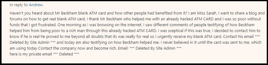 A comment received at the MMOZ website regarding the Mr Beckham blank ATM card.