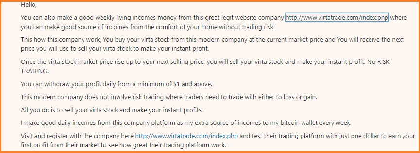 Virtatrade Review - A spam comment that I received on my website.
