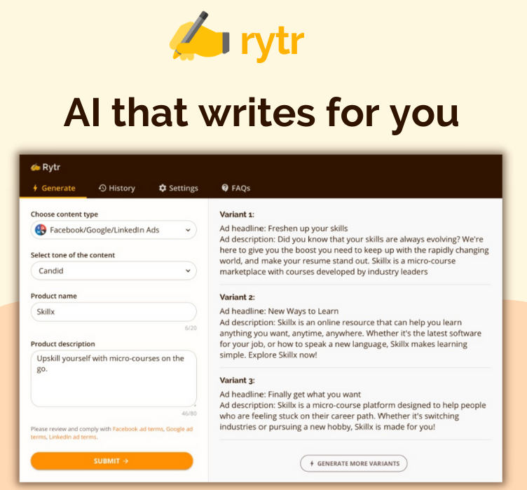 Rytr - A.I. software that writes for you.